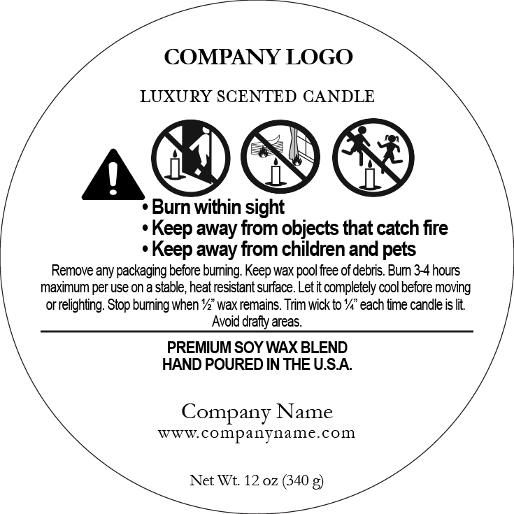 500 Candle Warning Labels